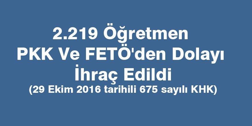2.219 Öğretmen PKK Ve FETÖ'den Dolayı İhraç Edildi
