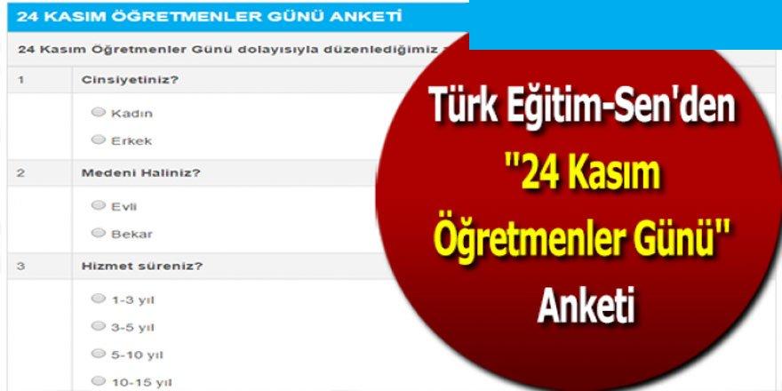 Türk Eğitim-Sen'den 24 Kasım Öğretmenler Günü Anketi
