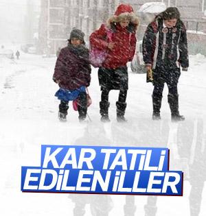 Kar tatili ilan edilen il ve ilçeler