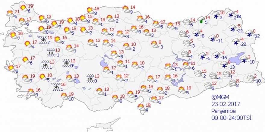 Hava durumu 23 Şubat 2017