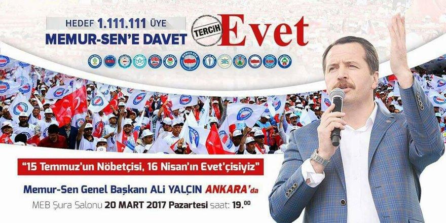 """""""Memur-Sen'e Davet, Tercih Evet"""" Ankara Programı"""