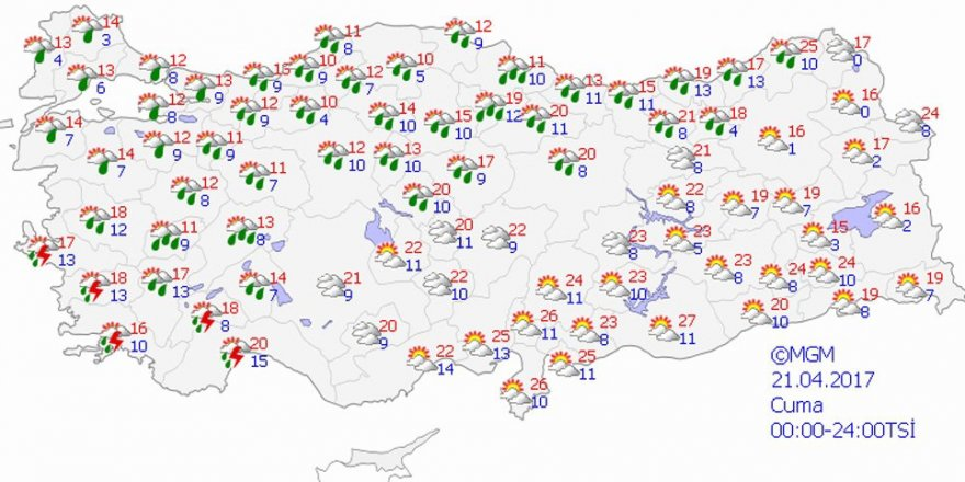 Hava durumu 21 Nisan 2017