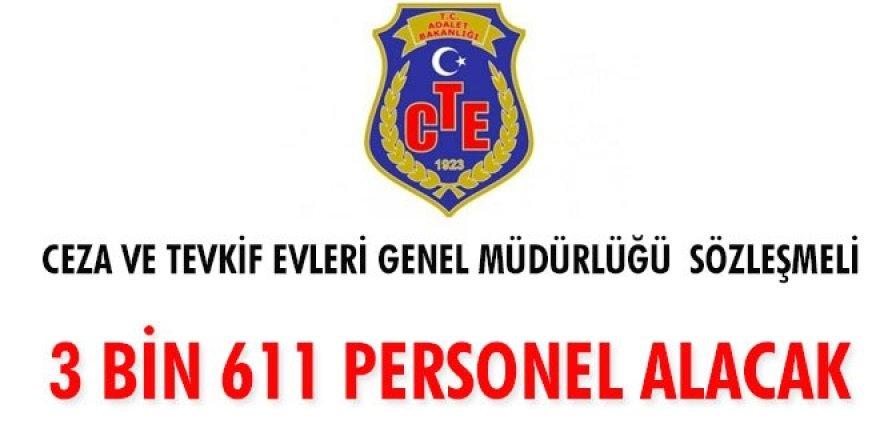 Ceza ve Tevkif Evleri Genel Müdürlüğü sözleşmeli 3 bin 611 personel alacak