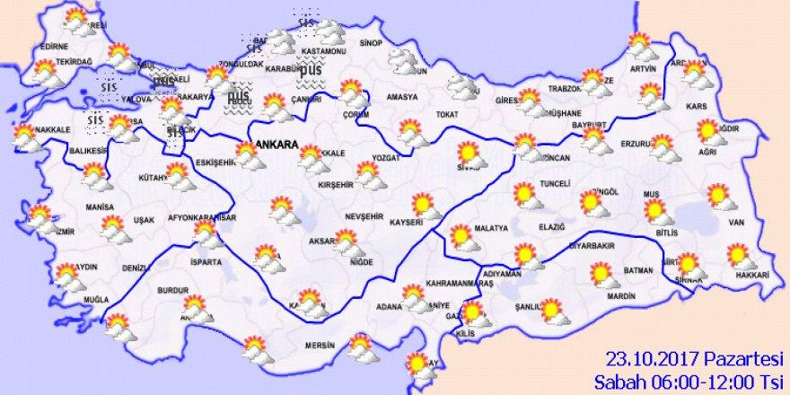 Meteoroloji'den sağanak yağış uyarısı! 23 Ekim Pazartesi hava durumu