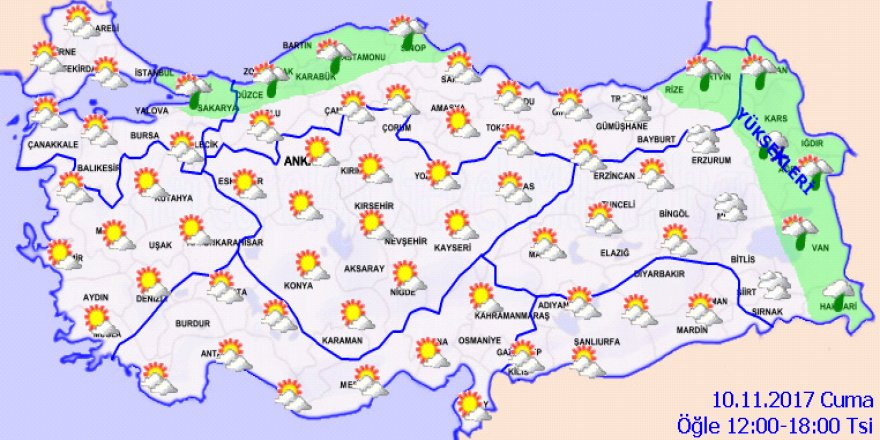 10 Kasım Cuma Yurtta hava durumu