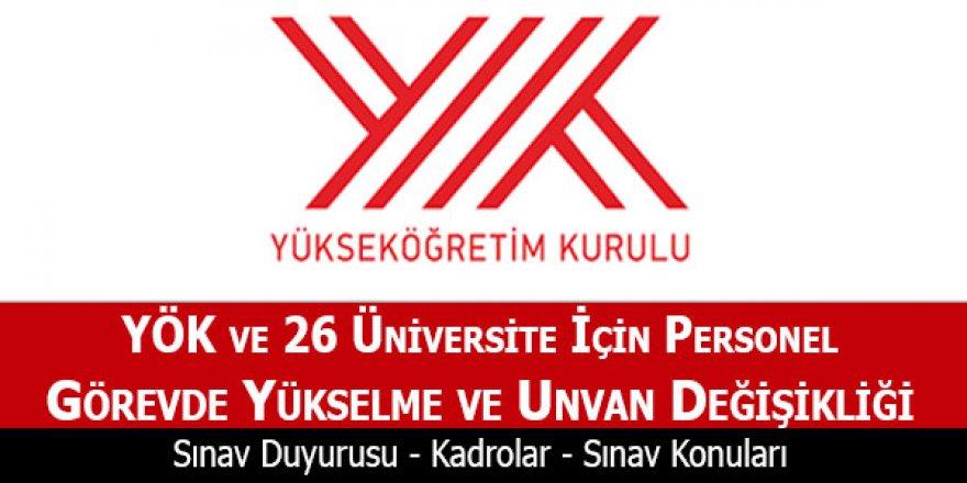 YÖK görevde yükselme sınav duyurusu 2018