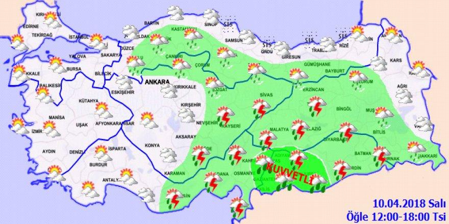 Meteoroloji'den kuvvetli yağış uyarısı!10 Nisan Salı yurtta hava durumu