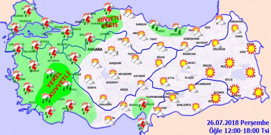 Meteoroloji'den sağanak yağış uyarısı!26 Temmuz 2018 yurtta hava durumu