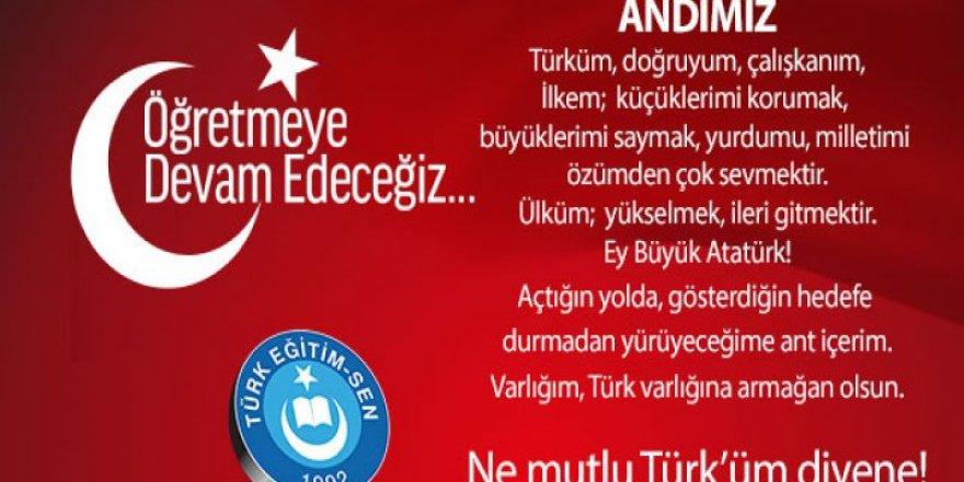Türk Eğitim-Sen'den 'öğrenci andı okutulsun' çağrısı