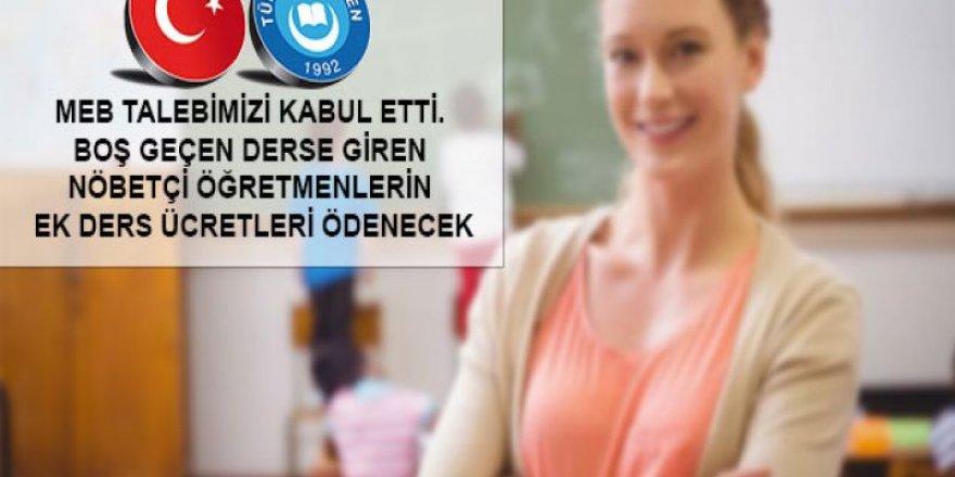 Boş Geçen Derse Giren Öğretmene Ek Ders Ücreti Ödenecek