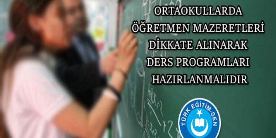 Ders Programları Yapılırken, Öğretmen Mazeretleri Dikkate Alınmalıdır