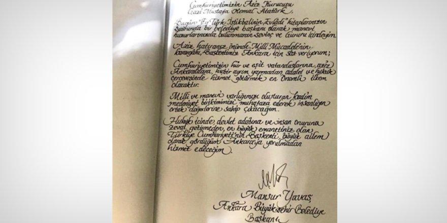 Anıtkabir defterindeki el yazısı Mansur Yavaş'a ait değilmiş!