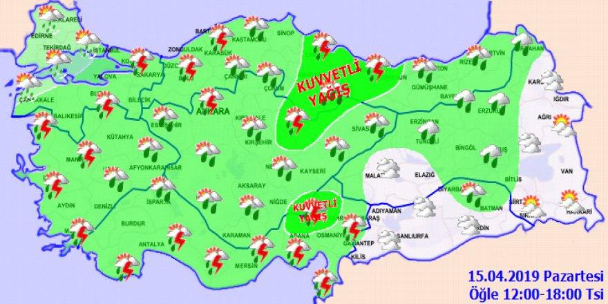 Meteorolojiden kuvvetli yağış uyarısı!15 Nisan 2019 Hava durumu