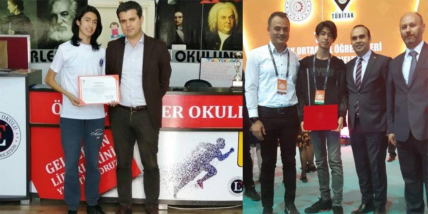 TÜZYEKSAV Liderler Okulu Öğrencisi Mustafa Batu Eren, TÜBİTAK Yarışmasında Türkiye Birincisi Oldu
