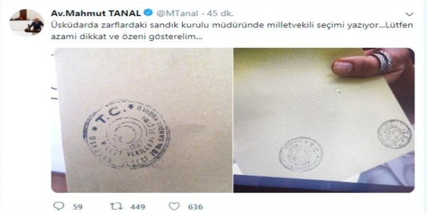 CHP'li Tanal: Zarflarda milletvekili seçimi yazıyor