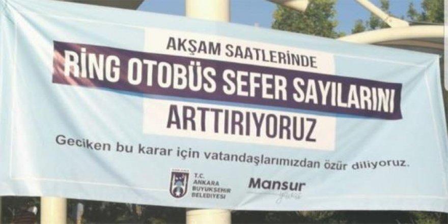 Mansur Yavaş pankart ile vatandaşlardan özür diledi!