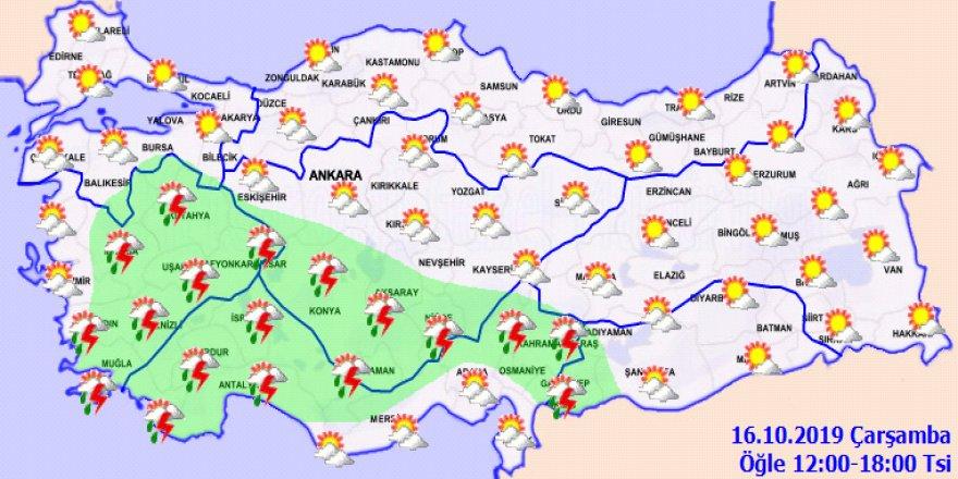 Yağış alan yerlerde sıcaklık düşecek!Hava durumu 16 Ekim 2019
