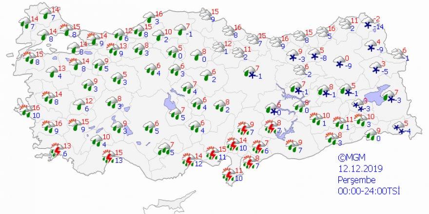 Meteorolojiden kuvvetli yağış uyarısı - 12 Aralık hava durumu