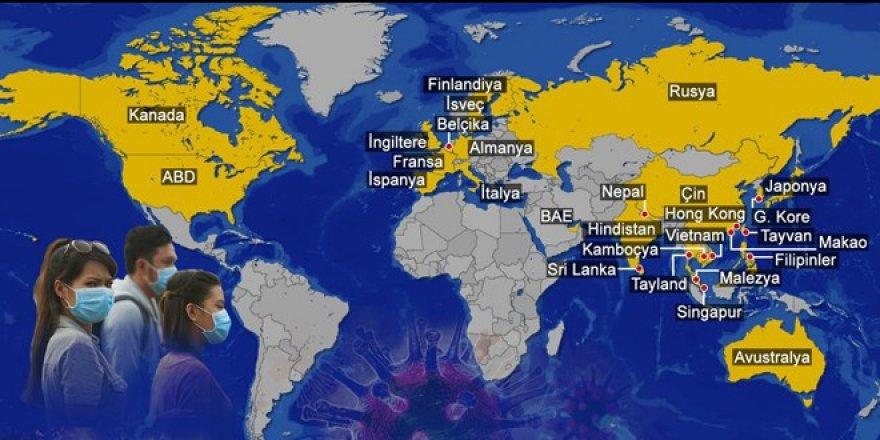 Corona virüsü kaç ülkeye yayıldı?