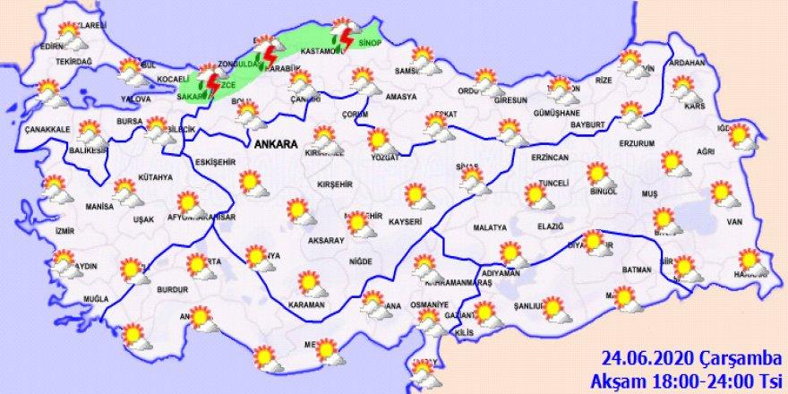 Bugün hava nasıl olacak?Hava durumu 24.06.2020