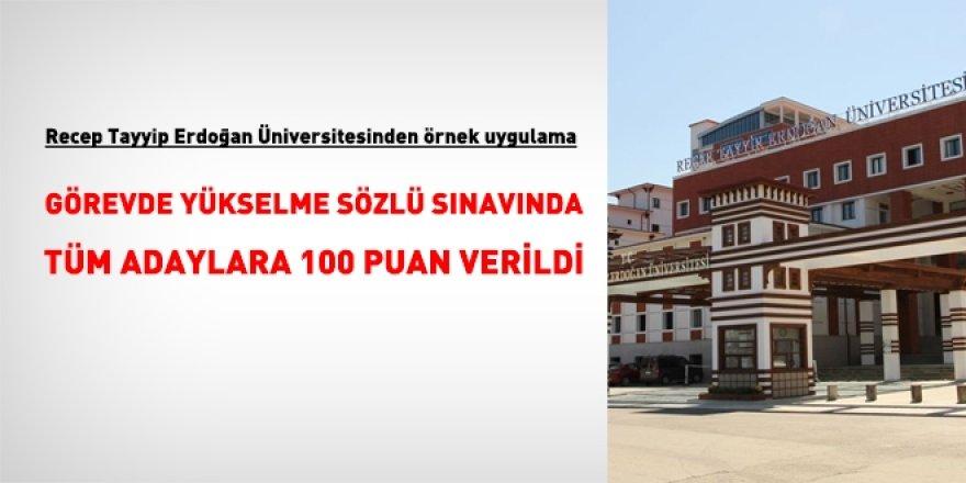 Recep Tayyip Erdoğan Üniversitesinden örnek uygulama: GYS'de herkese 100 verildi