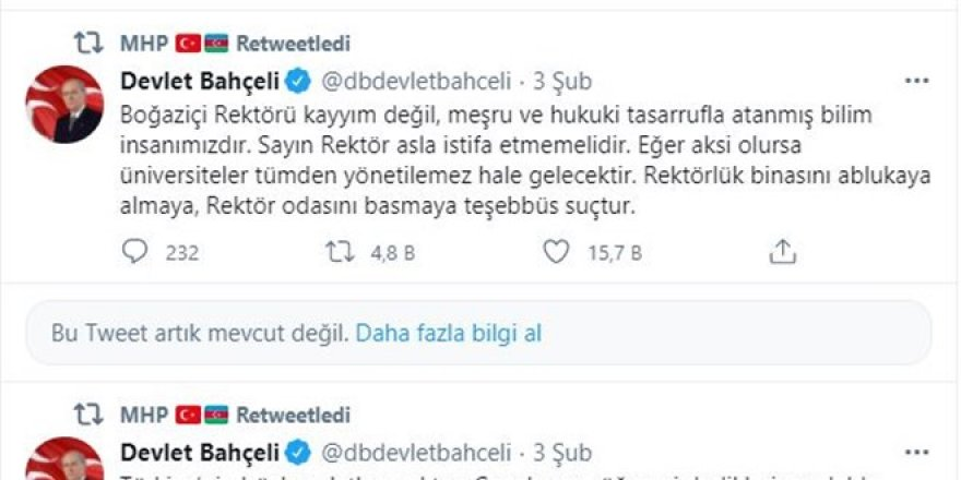 Twitter'dan Bahçeli'nin paylaşımlarına kısıtlama!