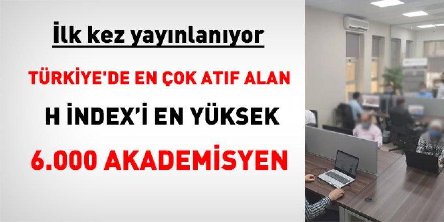 Türkiye'de en çok atıf alan ve H index'i en yüksek 6 bin akademisyenin tam listesi