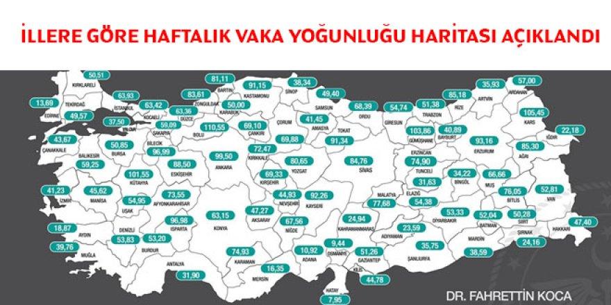 İllere göre haftalık vaka yoğunluğu haritası açıklandı (29 Mayıs - 4 Haziran)