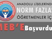 Norm Fazlası Anadolu Lisesi Öğretmenleri için MEBe başvuru