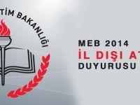 MEB 2014 İl Dışı Atama Duyurusu