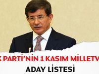 Ak Parti'nin 1 Kasım tam aday listesi