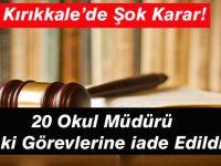 Mahkeme 20 Müdürü Görevlerine İade Etti