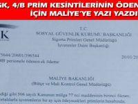 SGK'dan Maliye'ye 4/B Pirim Yazısı
