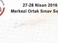 27 - 28 Nisan 2016 8. sınıf 2. dönem merkezi ortak sınav soruları