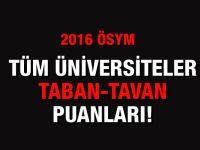 Üniversitelerin taban ve tavan puanları-2016