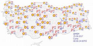 Yurtta hava durumu 15 Eylül 2017