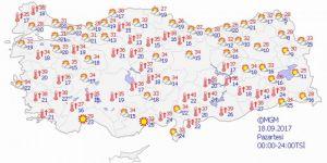 Yurtta hava durumu 18 Eylül 2017