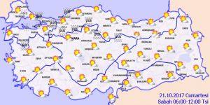 Hava Durumu - Bugün (21 Ekim 2017) Hava Nasıl Olacak?