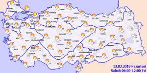Meteoroloji'den sağanak uyarısı!12 Mart Pazartesi yurtta hava durumu