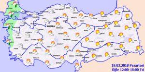 Meteoroloji 'den kuvvetli rüzgar uyarısı! Hava durumu 19 Mart Pazartesi