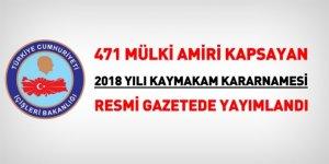 471 kişilik 2018 yılı kaymakam kararnamesi, Resmi Gazetede yayımlandı