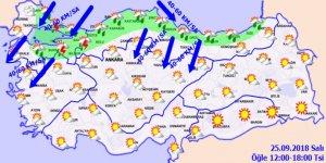 Meteoroloji'den kuvvetli yağış uyarısı!25 Eylül 2018 Hava durumu