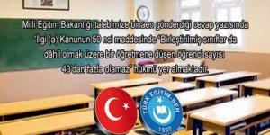 Sınıf Mevcutları 40 Öğrenciyi Geçemeyecek