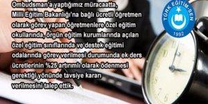 Ombudsman'a ek ders ücretlerinin ödenmesi talebi