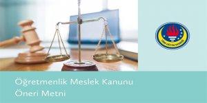 Öğretmenlik Meslek Kanunu Öneri Metni
