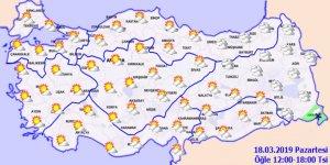 İç ve Batı kesimlerinde sıcaklık artıyor! 18 Mart 2019 Hava durumu