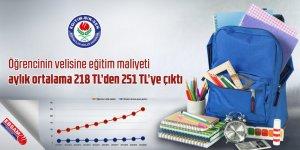 Öğrencinin velisine eğitim maliyeti aylık ortalama 218 TL'den 251 TL'ye çıktı
