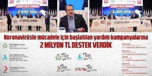 Koronavirüsle mücadele için başlatılan yardım kampanyalarına 2 milyon TL destek