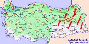 Meteorolojiden kuvvetli rüzgar uyarısı! Haritalı hava durumu 03.06.2020