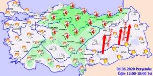 Sıcaklıklar yurt genelinde artacak!Haritalı hava durumu 04.06.2020